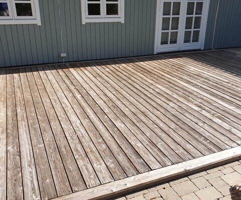 træ terrasse før gulvafslibning